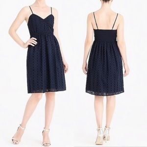 J Crew Blue Eyelet Knee Length Summer Dress Sz XL
